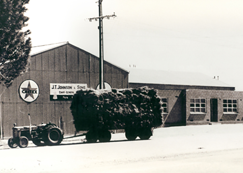 Chaff Mill and tractor with trailer loaded with hay infront of offices and weighbridge 1973